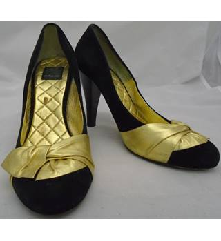 Dolce Vita - Black and Gold Suede Heeled Shoes - Size 6