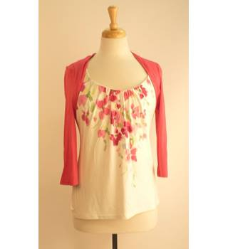 Kaliko Fuchsia Pink & White Top Size 10 Kaliko - Size: 10 - Multi-coloured - Blouse