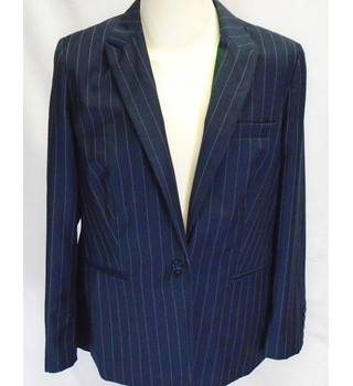 M&S Marks & Spencer - Size: 16 Medium - Navy Blue - Striped Jacket