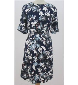 M&S Collection - size: 14 navy floral knee length dress