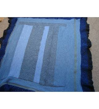 Hand Crocheted Medium Size Blanket in Blues