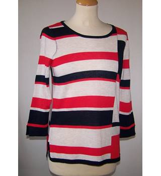 M&Co - Size: 10 - Red, White and Navy Block & Stripe Pattern Jumper