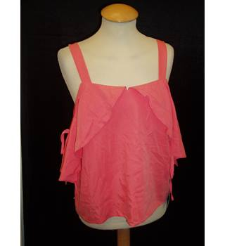 BNWT Kathrina Fashions Size 10 Coral pink cold shoulder top with shoulder straps and tie fastening off the shoulder sleeves