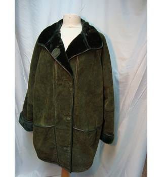 Anna Polare Dark Green Shearling Coat XL