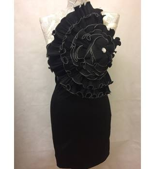 AX Paris Size 8 Black with Ruffle Flower Mini Dress