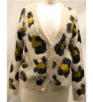 BNWT Topshop - Size: 8 - Ivory with Animal Print Pattern Cardigan