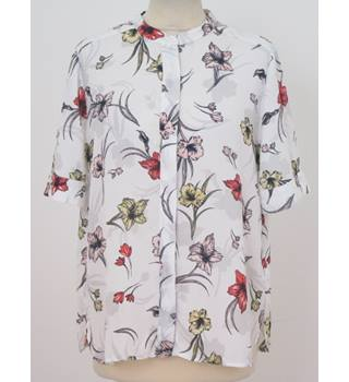 M&S Collection - size: 12,  ivory, floral patterned short sleeved shirt