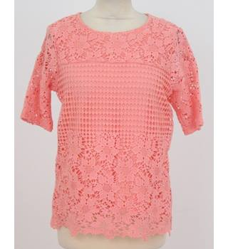 NWOT M&S Classic Collection - size: 10, coral, lace front top