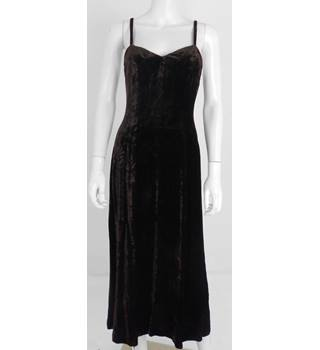 Whistles Size 10 Chocolate Brown Velvet Full Length Slip Dress