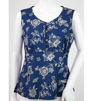 Liz Claiborne - Size: M - Blue with beige floral sleeveless top