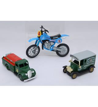 Three diecast models, two lorries and a motorbike. Panther and Lledo