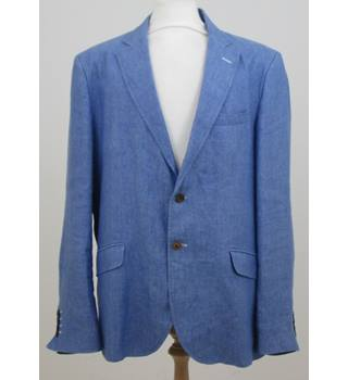 "El Ganso - Size: 46"" chest - Baby Blue with white elbow patches Linen Jacket"