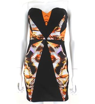Lipsy Size 10 Sleeveless with Orange Print Segment Jersey Dress