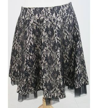 Primark Atmosphere - Size: 16 - Beige skirt with black lace outer.