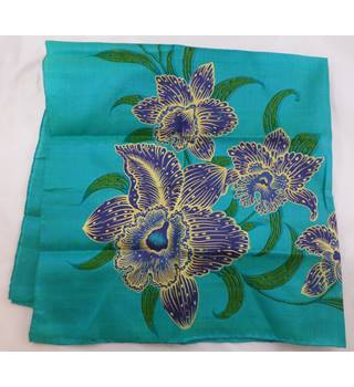 Thai Silk - New, Size: M - Peacock Blue - raw silk Scarf