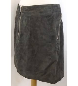 Topshop - Size: 14 - Brown - Suede Mini SKIRT