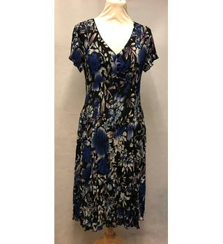 East - Size: 12 - Black with Blue and Purple Floral Dress