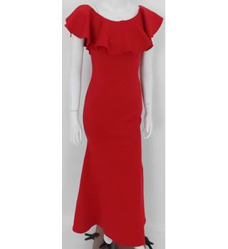 BNWT Club London Size 8 Red Long Ruffle Bodycon Dress