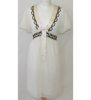 Monsoon Fusion - Size L - Cream with brown/black sequin waist dress