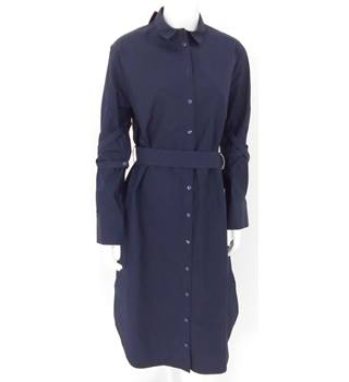 M&S Autograph Size 12 Navy Utilitarian Styled Crisp Shirt Dress