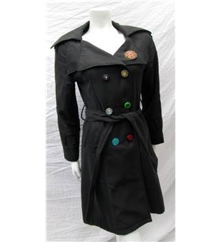K Zell Size M Black with Colourful Buttons and Broached Lapel Coat
