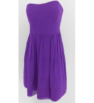 Coast Size 12 Violet Silk Chiffon Strapless Cocktail Dress