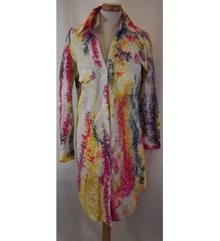 BNWT Sugar Kane - Size: S - Yellow, Pink and Grey Floral Print Button Through Shirt Dress