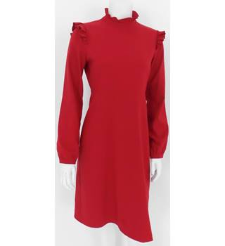 M&S Collection Size 8 Red Long-Sleeve A-Line Dress