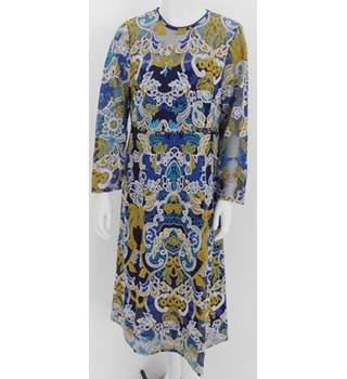 M&S Collection Size 12 Blue Yellow and White Embroidered Dress