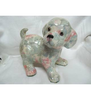 Cute Ceramic Dog Floral Finish Very Good