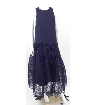 BNWT ASOS Tall Size 10 Blue & Black Floral Lace Apron Dress