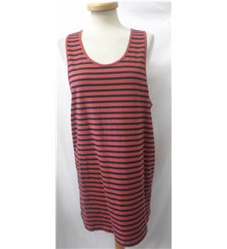 ASOS - Size: M - Red with Horizontal Black Stripes Sleeveless Dress