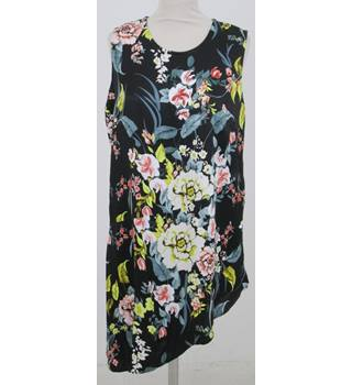 NWOT M&S - Size: 14 - Black with Floral Pattern Sleeveless  Dress