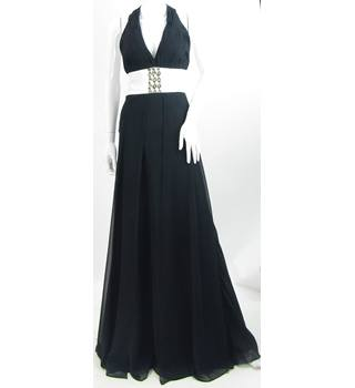 Dynasty London - Size: 10 - Black with Embellished Waist Evening Dress