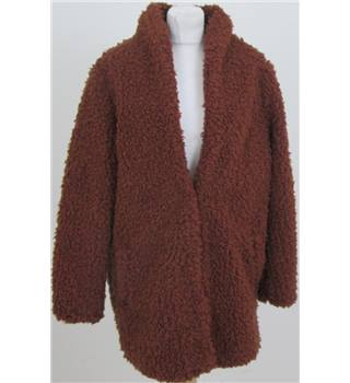 NWOT M&S size 14 brown shaggy faux wool coat