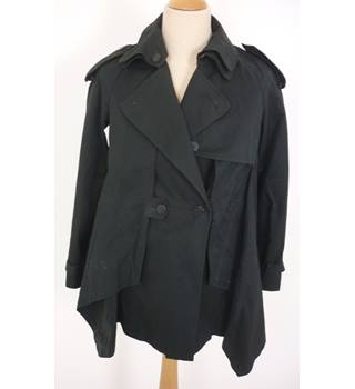 All Saints Size:  12 Black Stylish Casual Treated Cotton Short Trench Coat