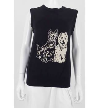 Black and White Size Large Black Westie Design Sleeveless Jumper