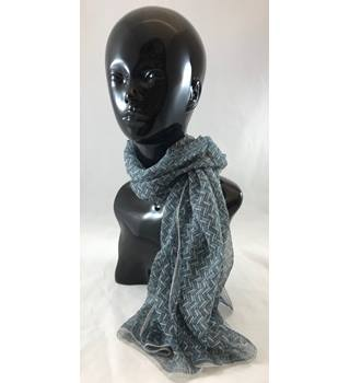 Pure Silk Sheer Long Scarf in Grey and Silver Herring Bone Pattern Unbranded - Size: M - Multi-coloured - Scarf