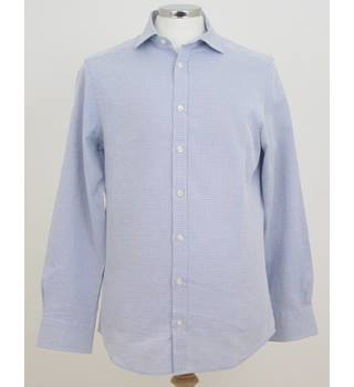 Charles Tyrwhitt Size: 15/34 in Blue Chequered Square  Pattern Long Sleeved Shirt