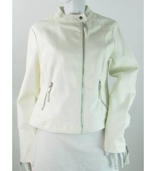 BNWT: M&S Marks & Spencer - Size: 14 - White -  Faux Leather Jacket
