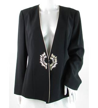 Jacques Vert - Size: 14 - Black - Suit Jacket With Embroidered Design