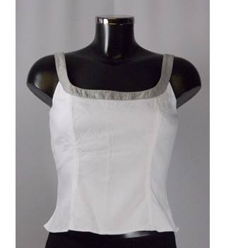 Luis Civit size 10 White and Grey Sleeveless Top