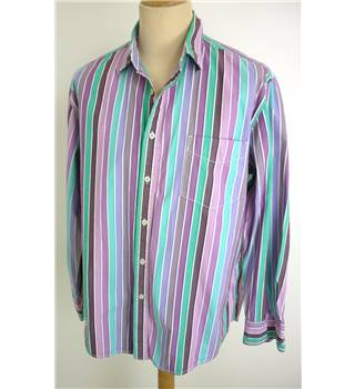 "Boden size 15.5"" collar Pink, Purple with Green and Blue Vertical Stripes Shirt"