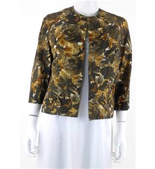 Vintage 1960s Circa Heiress Size 14 Mustard and Brown Floral Silk Jacket