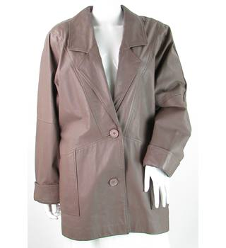 VINTAGE Unbranded - Size: 12 - Greyish Brown - Leather Coat