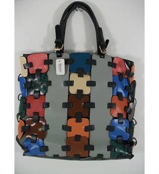 NEW Morsta Multi-Coloured Patchwork Leatherette Tote Bag