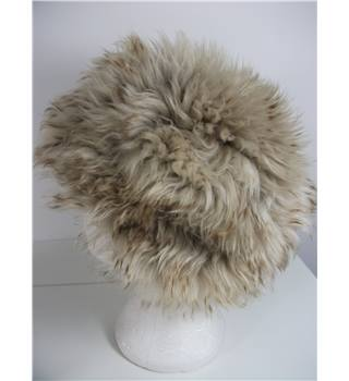 Beige tipped with Brown Sheepskin Fur Hat