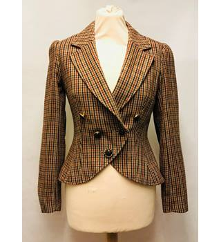 Primark Atmosphere - Size: 8 - Brown, Red and Green Chequered Casual Jacket