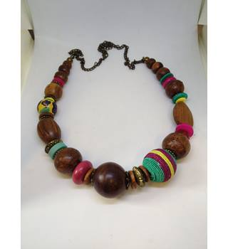 Wooden Large Beads Necklace Unbranded - Size: Large - Multi-coloured - Necklace