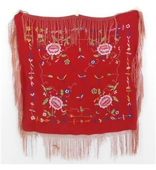 Beautiful Vintage Red Floral Embroidered Silk Shawl with Fringing